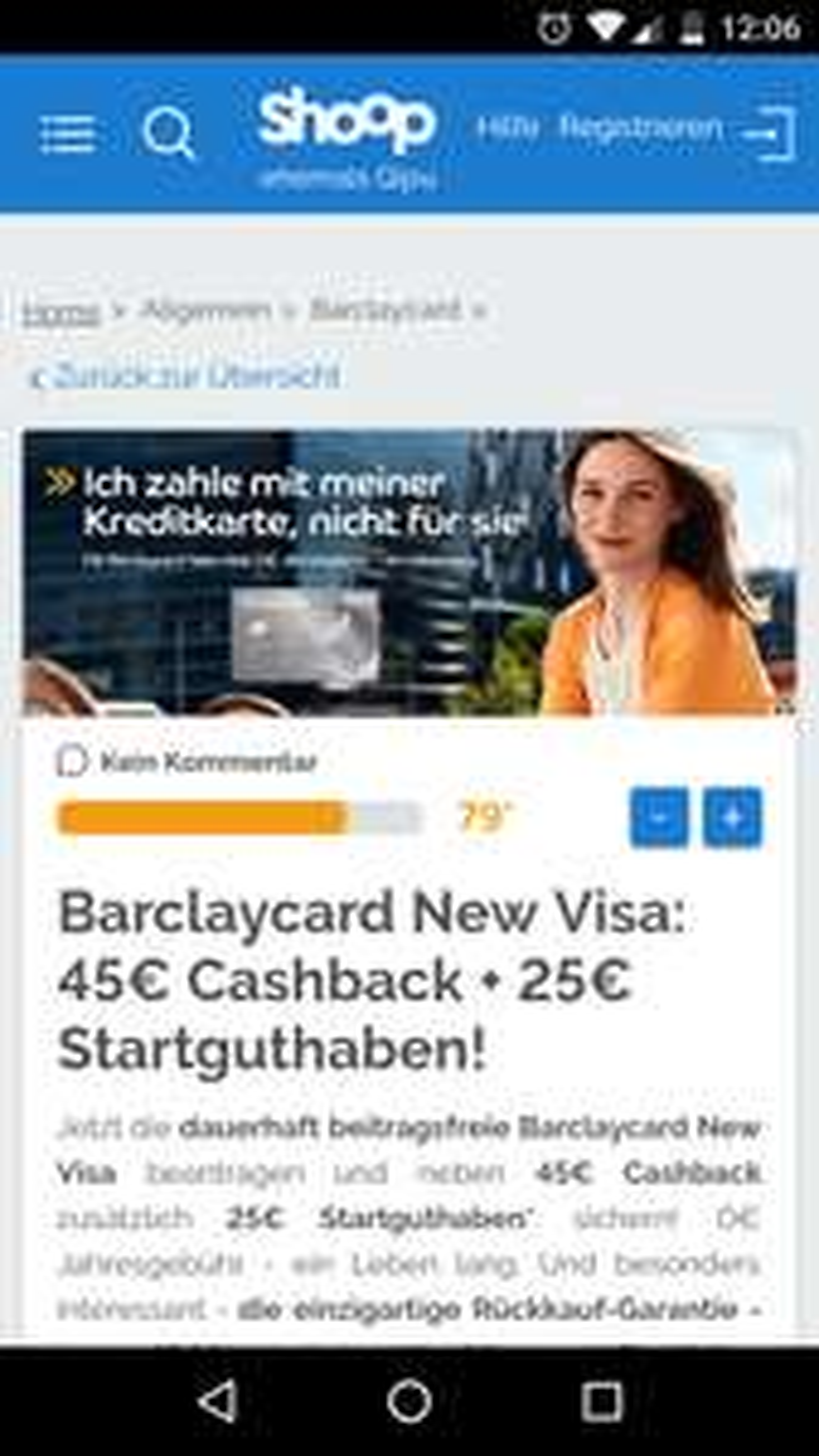 Shoop: Barclaycard New Visa: 45€ Cashback + 25€ Startguthaben!