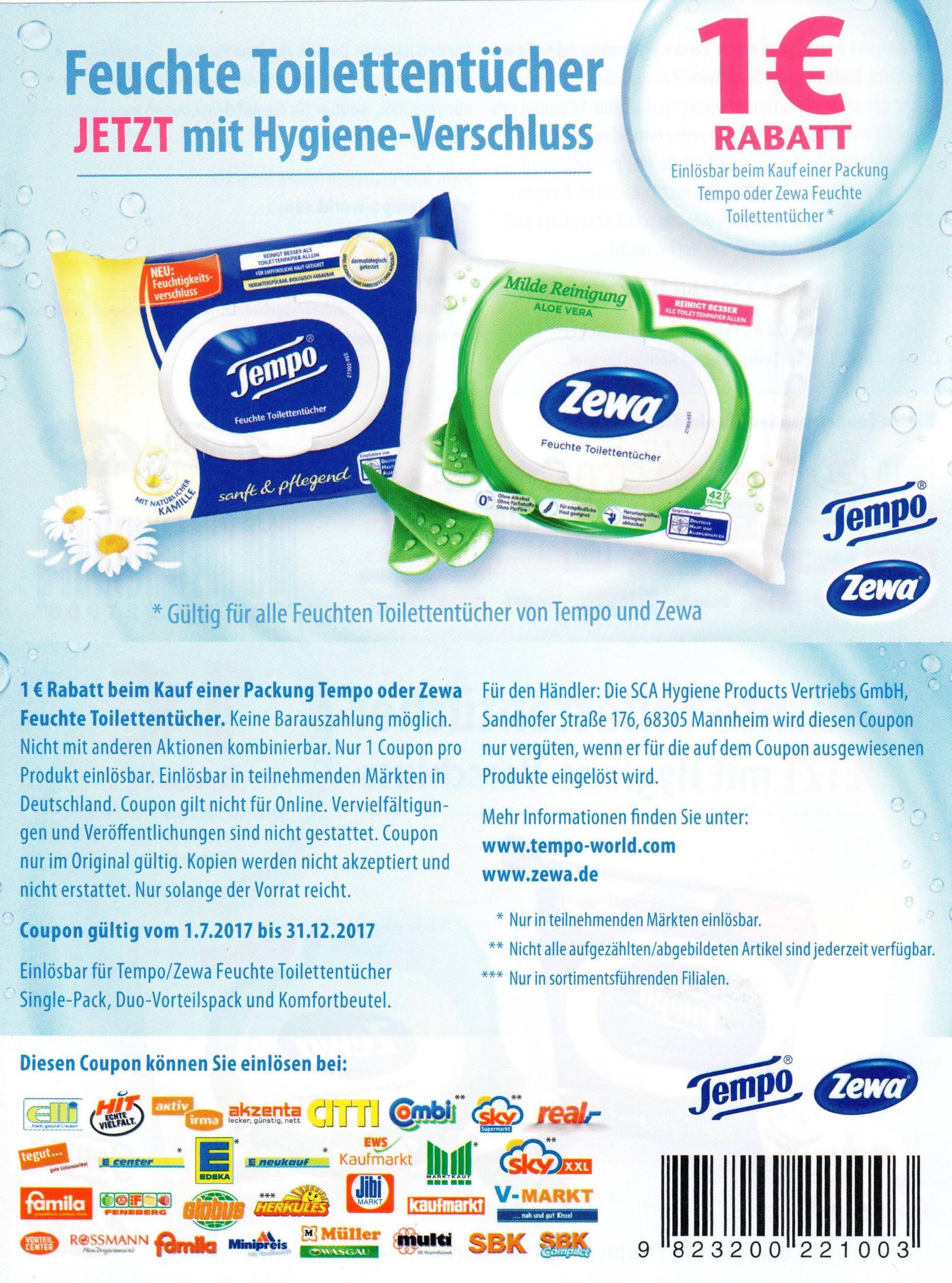 1,00€ Sofort-Rabatt-Coupon für eine Packung Tempo / Zewa feuchte Toilettentücher bis 31.12.2017 [bundesweit]