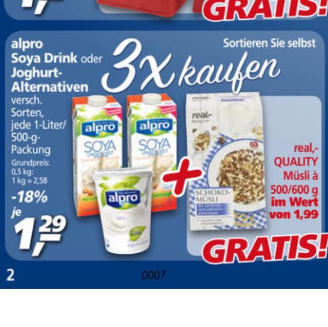 Real: 3 Alpro-Produkte kaufen, Müsli gratis erhalten