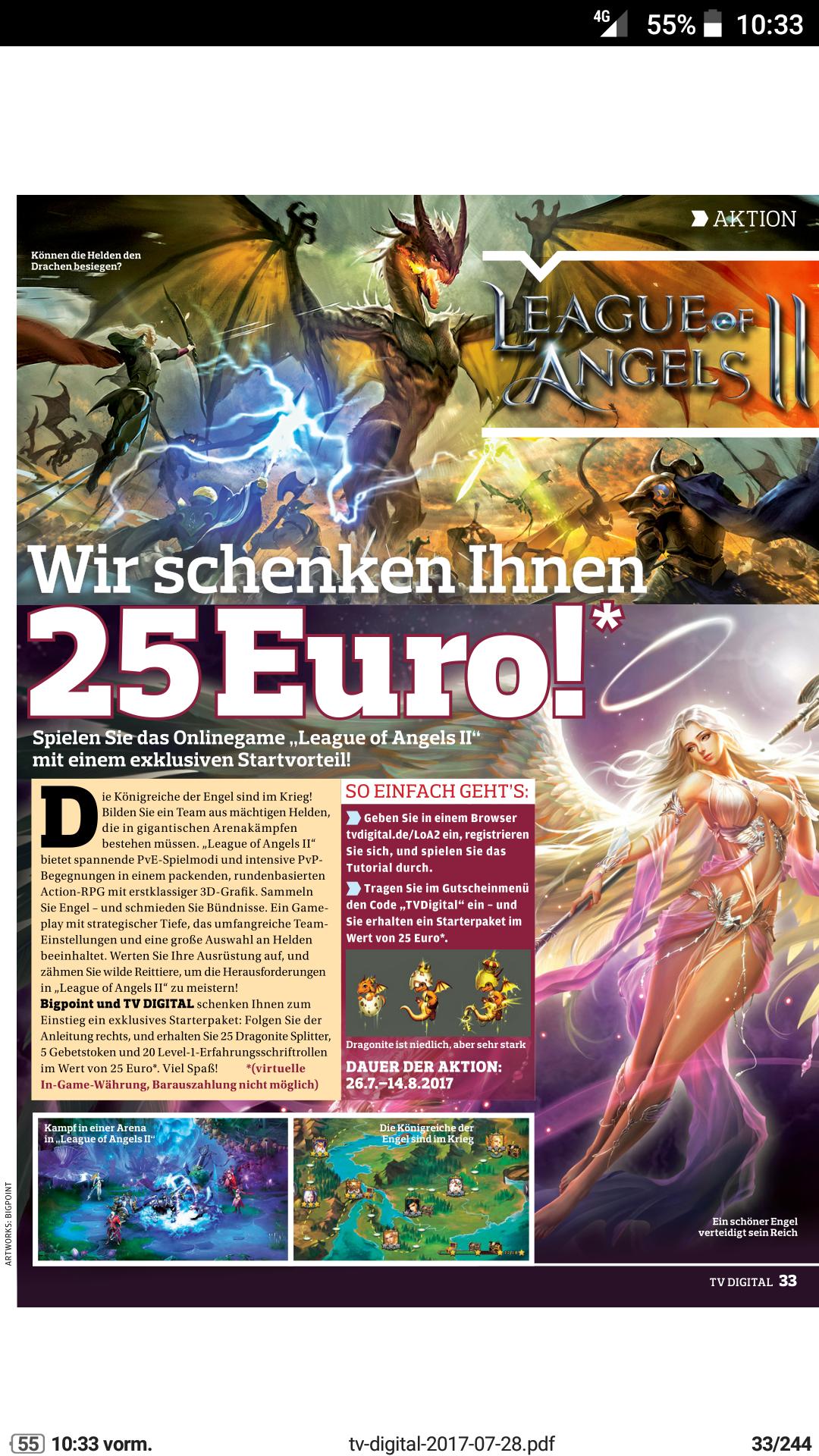 [League of Angels II] 25 Dragonite Splitter,  5 Gebetstoken und 20 Level-1-Erfahrungsschriftrollen  im Wert von 25 Euro gratis durch Gutscheincode