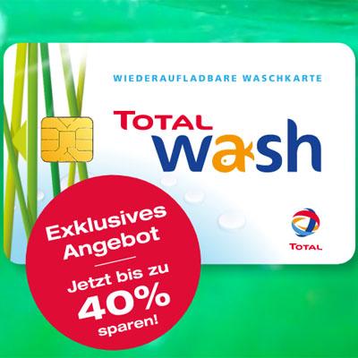 100€ Total Waschkarte für 64,90€, 75€ Waschkarte für 53,65€ oder 50€ Waschkarte für 39,90€