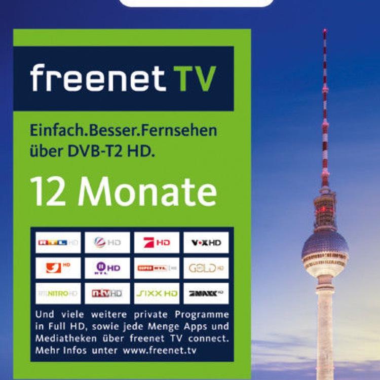 59,99€ statt 69€ freenet TV VERLÄNGERUNG PIN Code 12 Monate DVB-T2