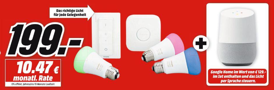 [Mediamarkt] PHILIPS Philips Hue White & Color Ambiance 3. Generation Starter Kit Mehrfarbig inc. GOOGLE Home Sprachgesteuerter Lautsprecher für 199,-€ Bei Abholung