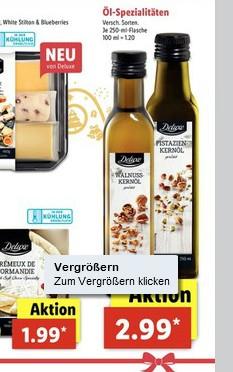 (Lidl) ab 11.12. gibt es wieder feinste Öle, wie Haselnussöl, Walnussöl oder Pistazienöl etc. für 2,99€ je 250ml Flasche
