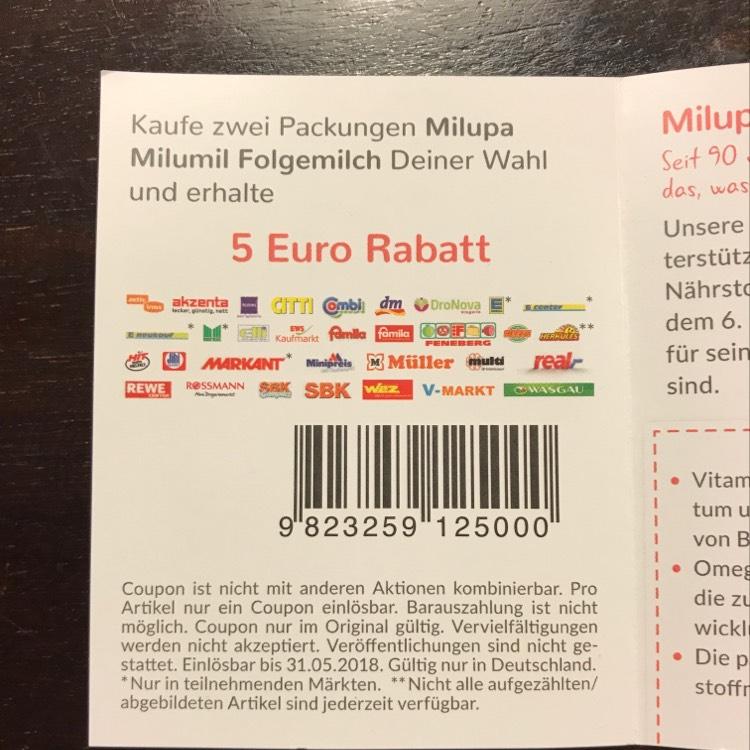 [Bundesweit]Auf 2x Milupa Milumil Folgemilch nach Wahl 5€ Rabatt erhalten