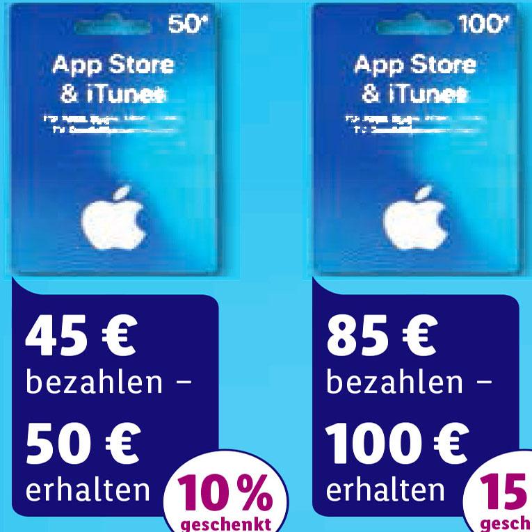 100€ iTunes Gutschein für 85€ (-15%) bei (LIDL und im Online-Shop)