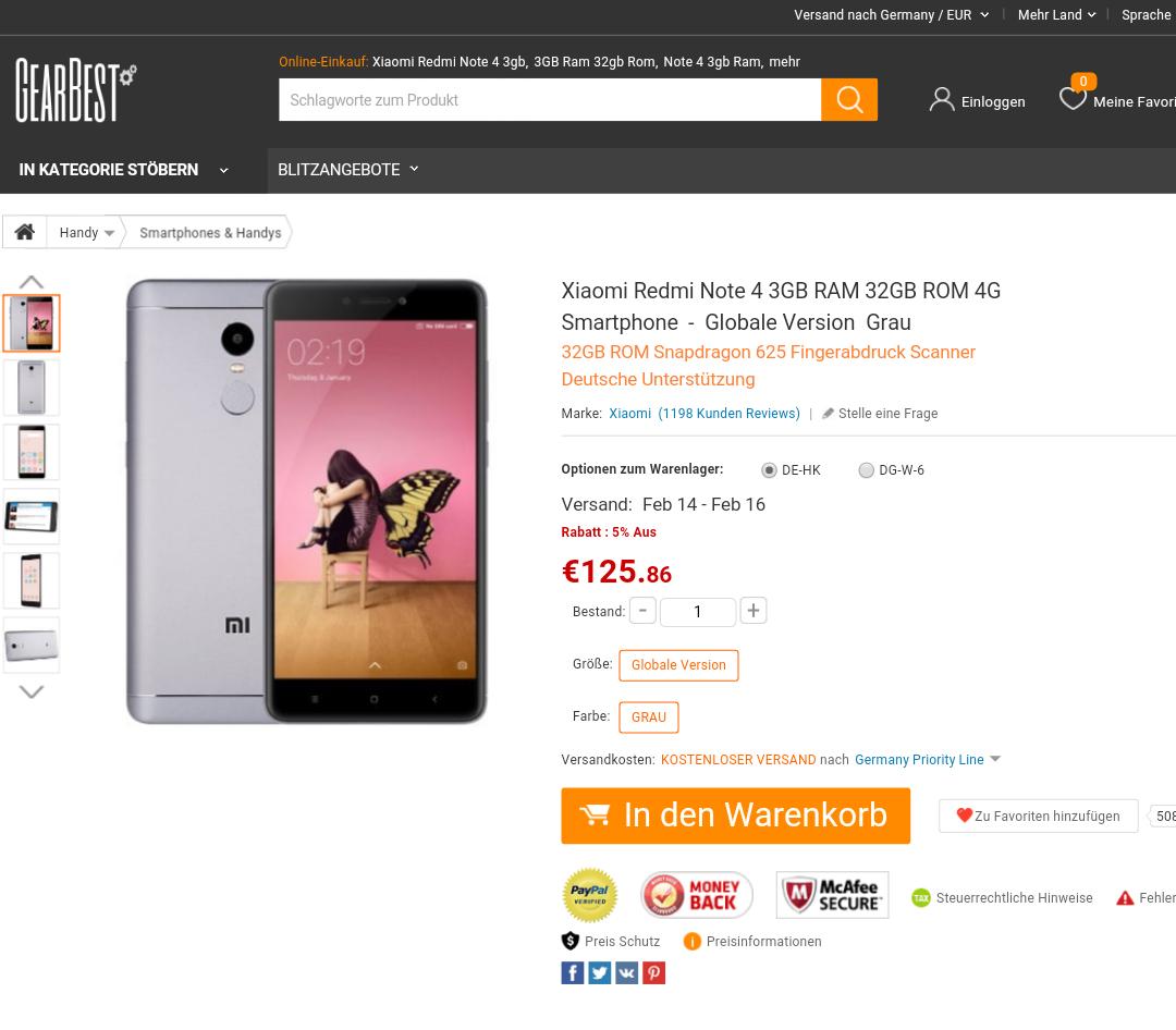 [Gearbest DE] Xiaomi Redmi Note 4 3GB RAM 32GB ROM 4G Smartphone  -Globale VersionGrau