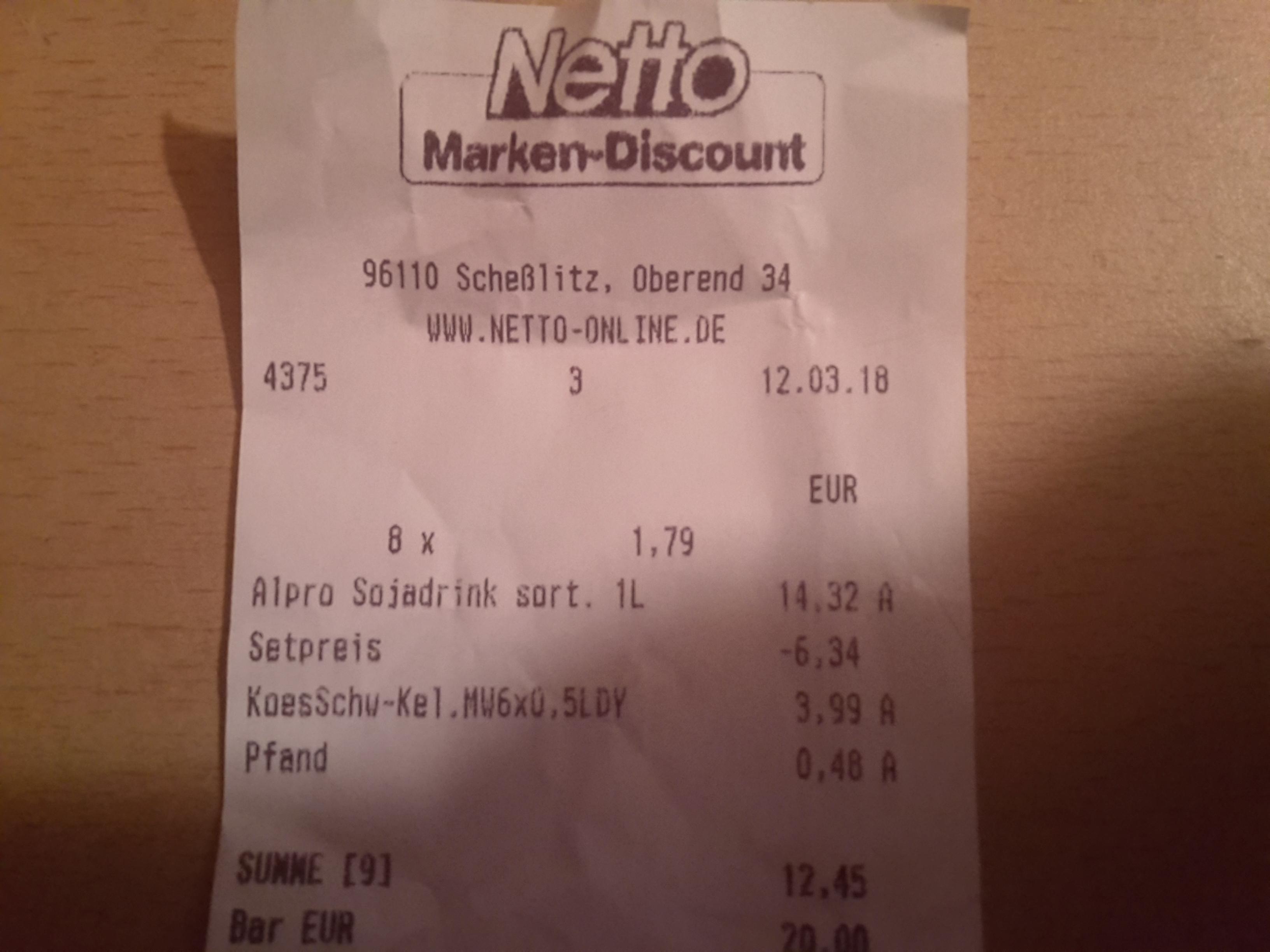 Netto (Lokal Schesslitz?) Alpro Sojadrink 1L für 1 €