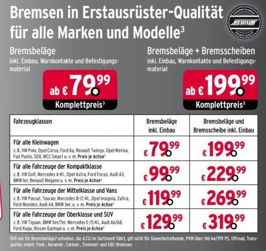 ATU - Bremsbeläge + Bremsscheiben je Achse inkl. Einbau ab 199,-€