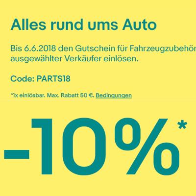 10% Gutschein für Autoteile & Co. (ausgewählter Händler) ab 24.05 [eBay]