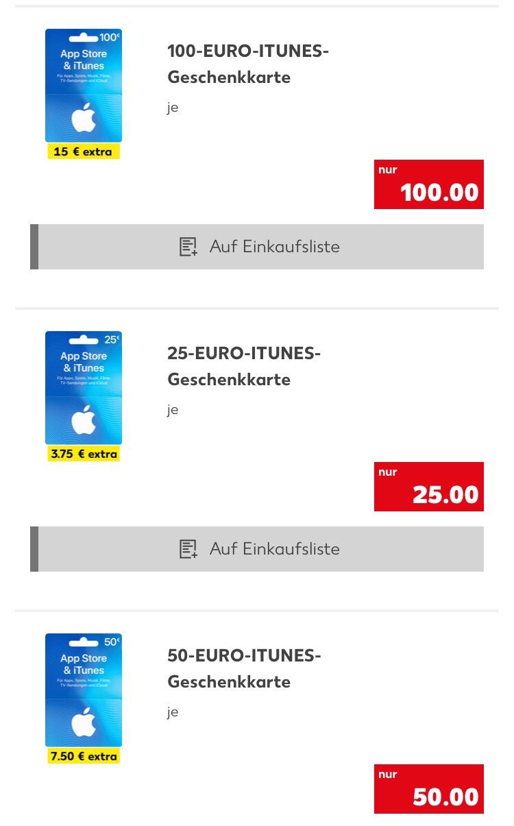 Kaufland ab 31.05 15% ITUNES Guthaben on top