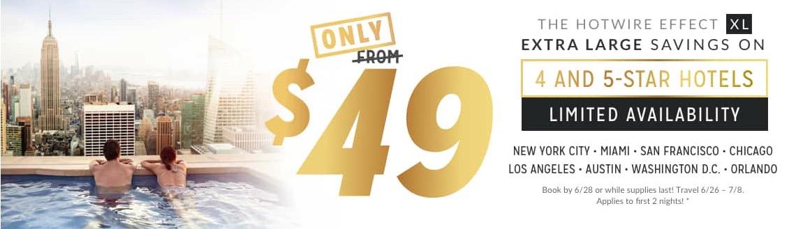 Hotwire 4 & 5-Star Hotel in New York, Miami, San Francisco, Chicago, Los Angeles, Austin, Washington DC and Orlando für nur $49 per Night