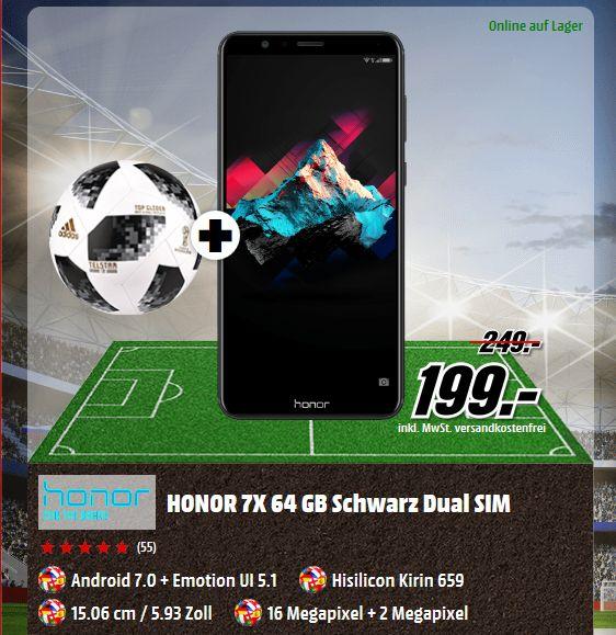 "Honor 7X  [15,06cm (5,93"") FHD+ Display, Android 7.0, Octa-Core 2.36GHz, 16MP+2MP, in 3 Farben + Fußball für  je 199,-€ [Mediamarkt]"
