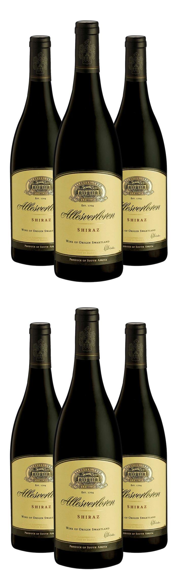6 Flaschen Allesverloren Shiraz 2015, südafrikanischer Weinklassiker  [vinexus, Newsletter Gutschein, 3 - 6 % shoop]