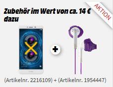 [Mediamarkt] Honor 6X Smartphone (13,97 cm (5,5 Zoll) Full HD Display, 32 GB Speicher, Android)  inc. Yurbuds Kophörer ab 109,-€ bei Zahlung mit Masterpass