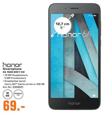 [Regional Saturn Bergisch Gladbach] Honor 6A Smartphone (5 Zoll) HD Display, Android 7.0) in Schwarz für 69,-€