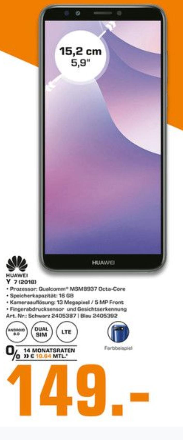 Das Huawei Y7 2018 für 149€ bei allen Berliner Saturn-Märkten und im Saturn Potsdam