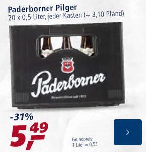 [lokal] Paderborner Pilger 20x0,5l für 5,49 Euro bei Real