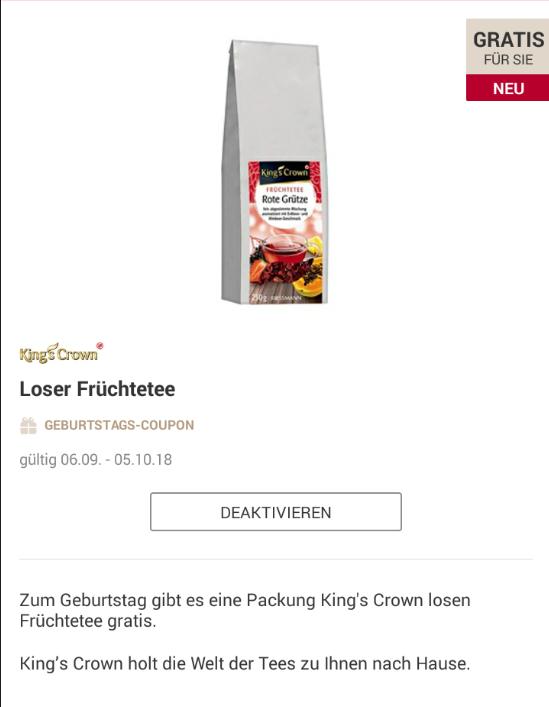 [Rossmann App] Geburtstagsgeschenk Kings Crown Früchtetee [ September]