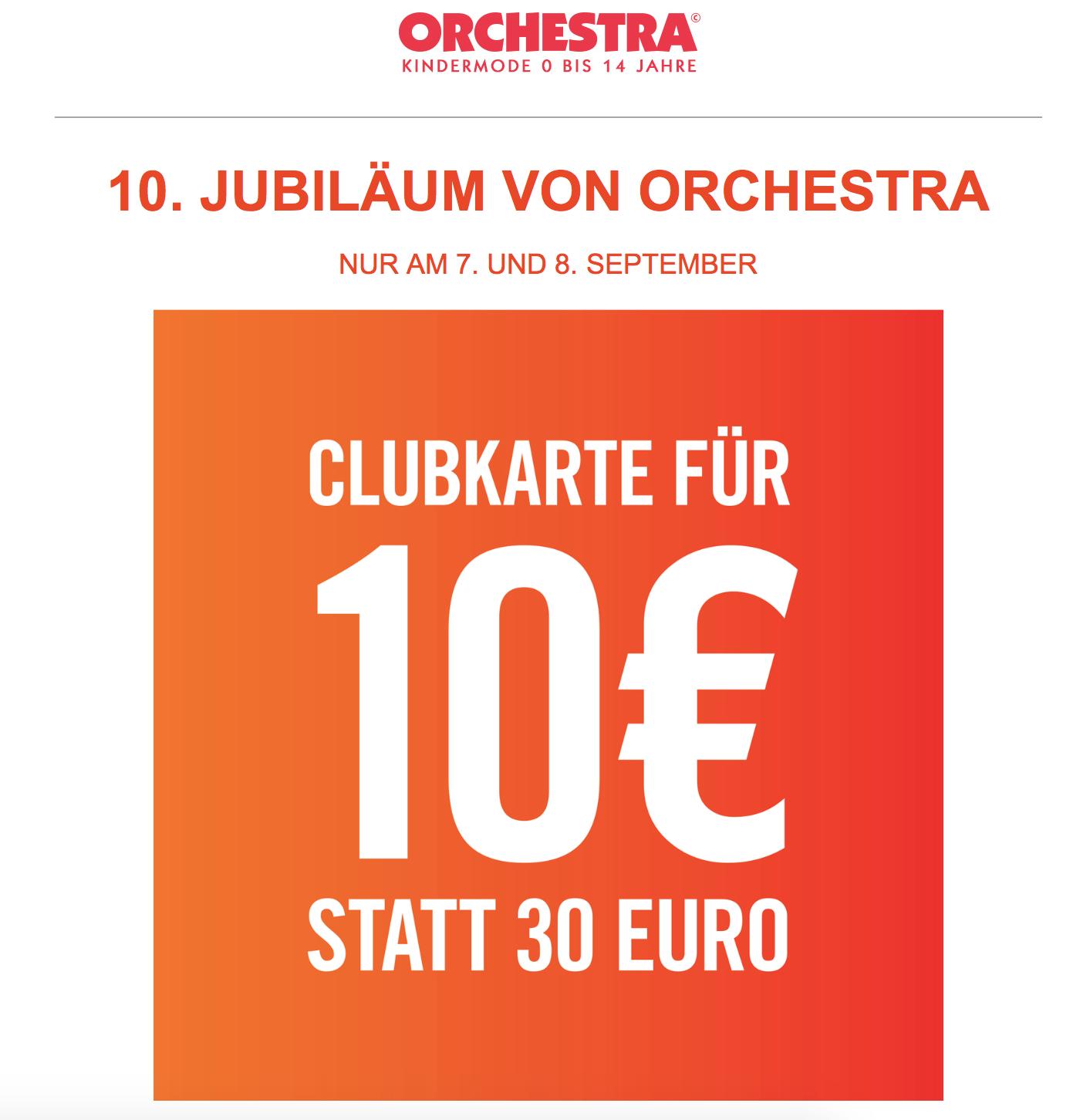 Orchestra Mode Club Karte: 1 Jahr für 10 Euro statt 30 Euro, 2 Jahre für 35 statt 55 Euro