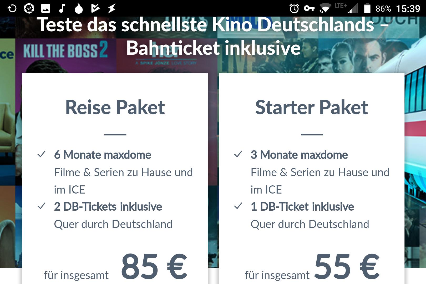 Deutsche Bahn MYTRAIN / MAXDOME DB ICE Freifahrt (begrenzte Verfügbarkeit) wieder für 42,50€ über 6 Monate Maxdome Abonnement und Kauf von mind. 2 Codes / Gutscheine anstatt über Mytrain