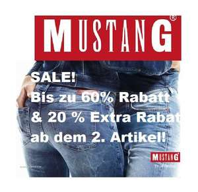 Mustang Sale: Bis zu 60% Rabatt & 20% Extra-Rabatt ab dem 2. Artikel!