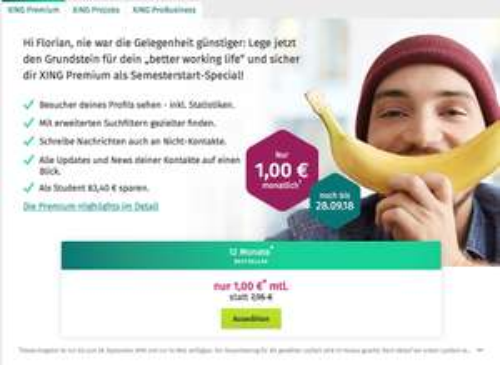 [STUDENTEN] XING Premium 12 Monate lang für 1€ / Monat