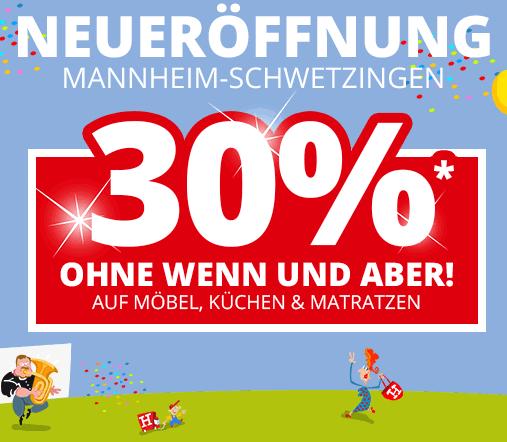 30% Neueröffnungsrabatt auf Möbel, Matratzen und Küchen bei Höffner in Mannheim-Schwetzingen