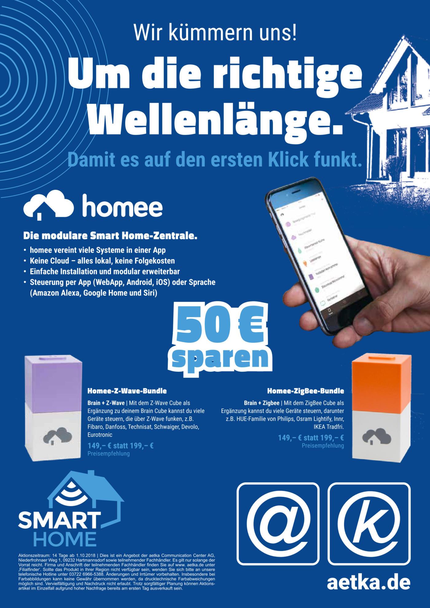 "[aetka] modulare Smart Home Zentrale ""homee"" Z-Wave oder ZigBee Bundle (bundesweit)"