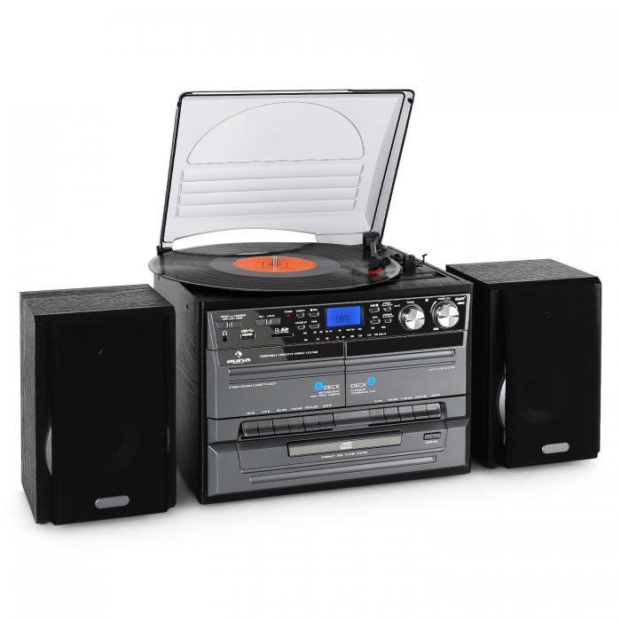 Stereoanlage mit integriertem Plattenspieler: auna TC-386