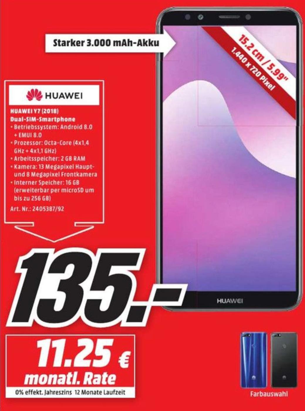 [Lokal Media Markt Verbund Berlin] Huawei Y7 2018 in zwei verschiedenen Farben für je 135€