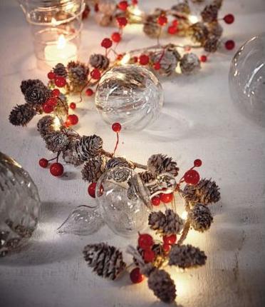 Kleiner Weihnachtssale bei Impressionen, z.B. beleuchtete Girlande mit roten Beeren