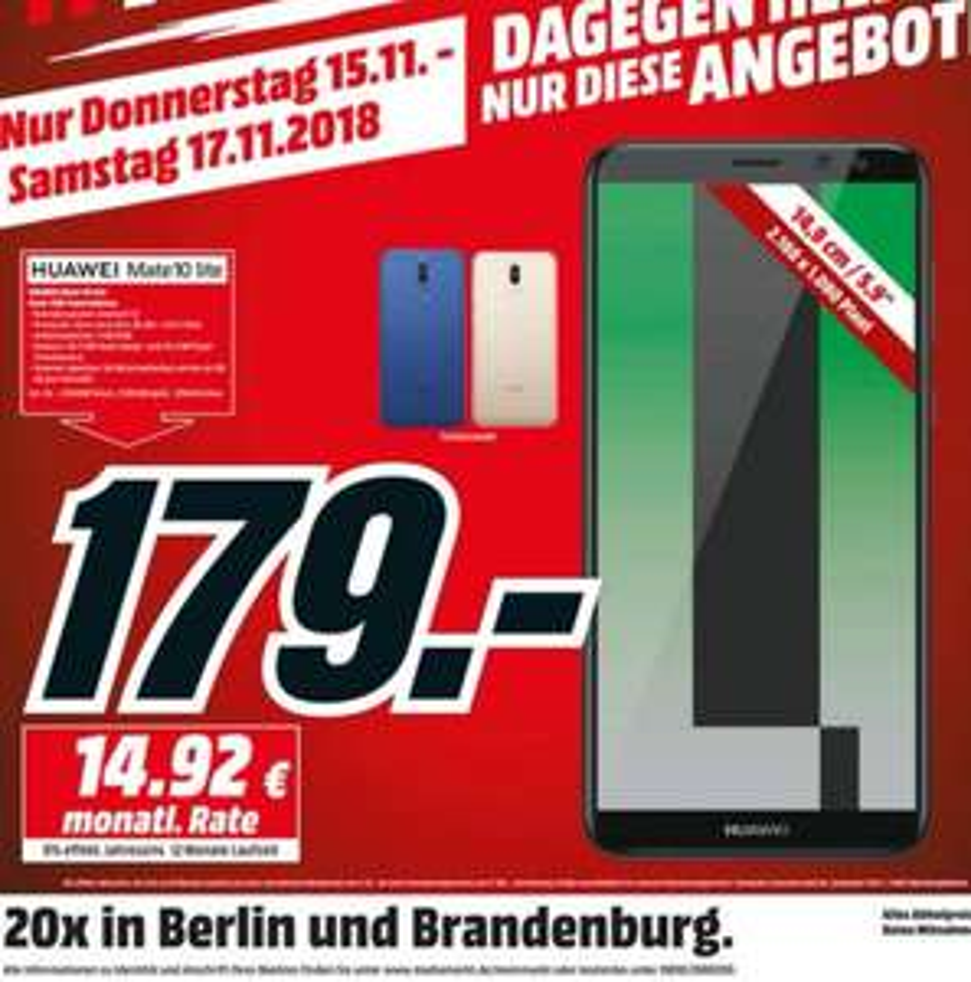 Huawei Mate 10 Lite 5,9 Zoll für 179€ [Lokal Media Markt Berlin]