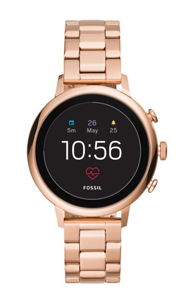 Fossil Damen Smartwatch Q Venture Hr - 4. Generation - Edelstahl - Rosegold