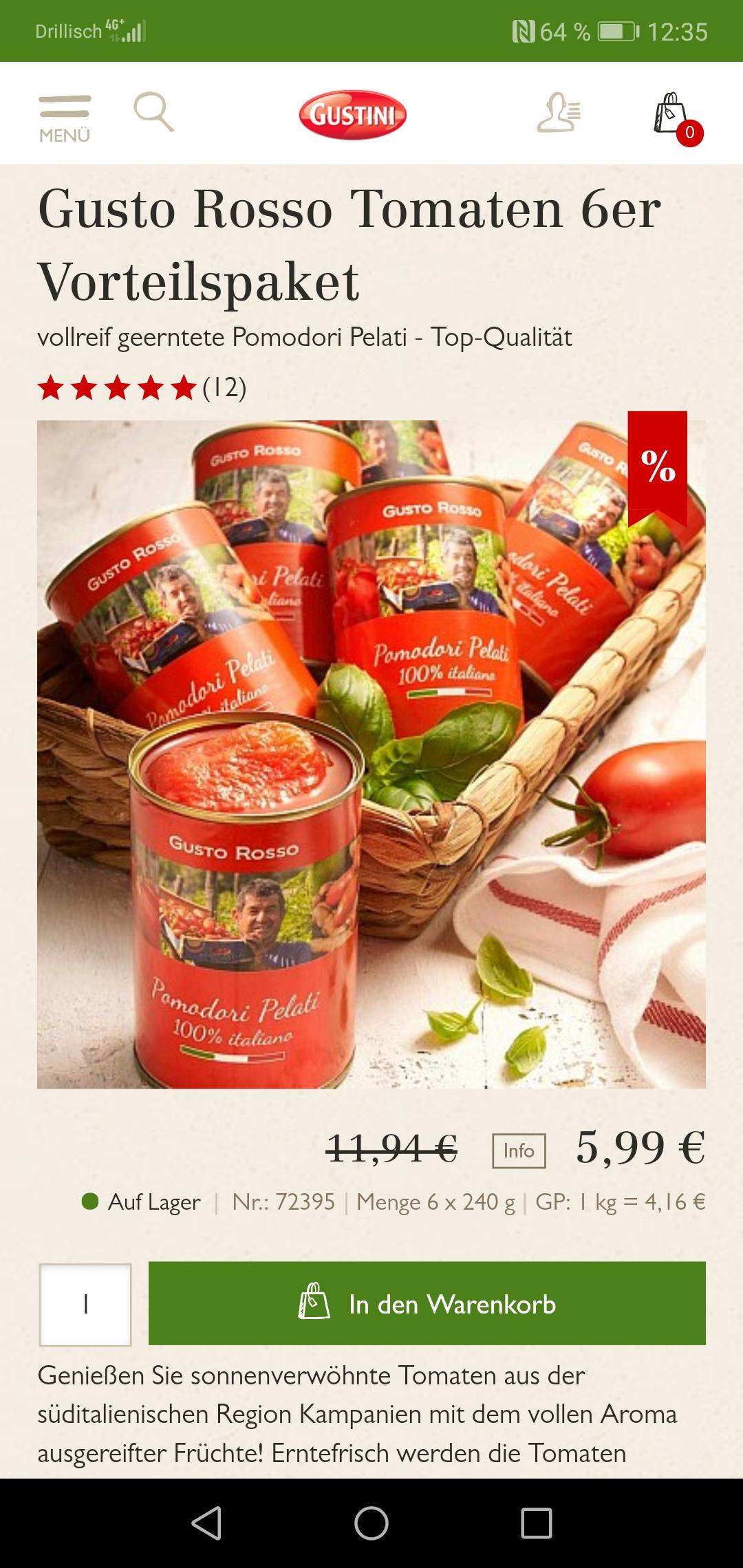 Gusto Rosso geschälte Tomaten auf Gustini im 6er Pack für 5,99
