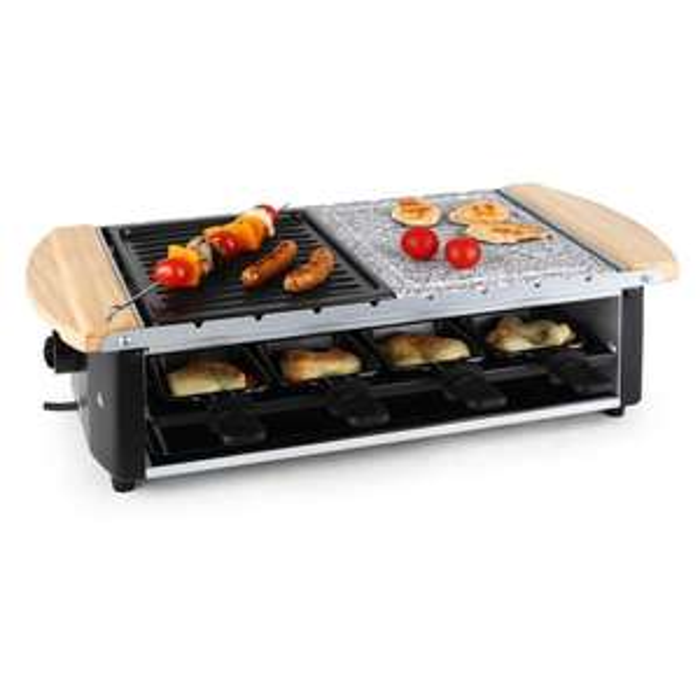 [Black Friday] Klarstein (10% auf alles) Raclette mit Holz und Halb/Halb Steinplatte (ohne Schaber) (+Versandkostenfrei +kostenlose Retoure)