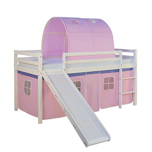 Kinder Hochbett Homestyle4u Massiv Natur Pinewood Kinder Loft Bett, Holz, pink, 97 x 207 x 150 cm