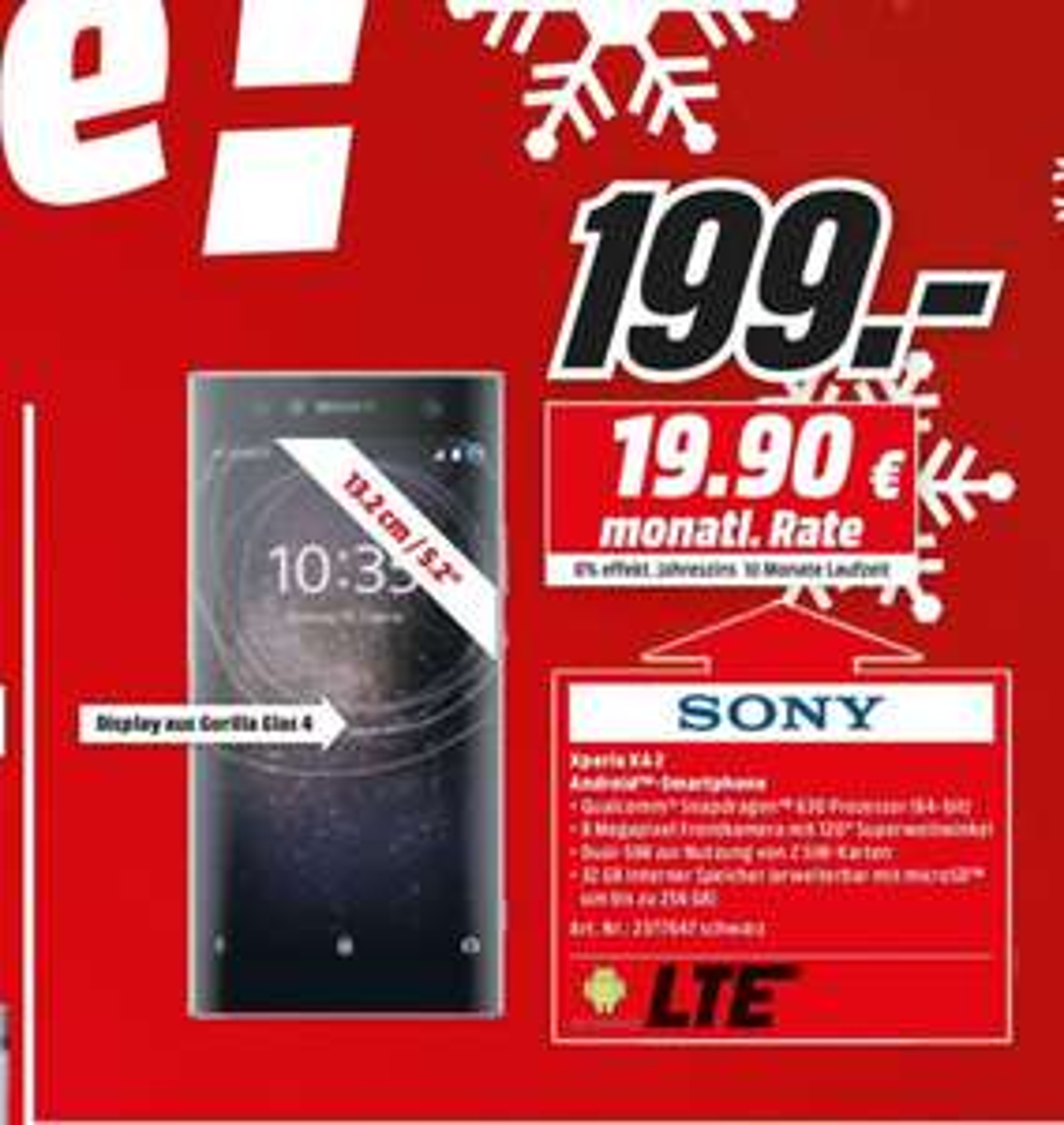 Sony Xperia XA2 Smartphone 5,2 Zoll Full HD für 199€ [Lokal Media Markt Zella-Mehlis]