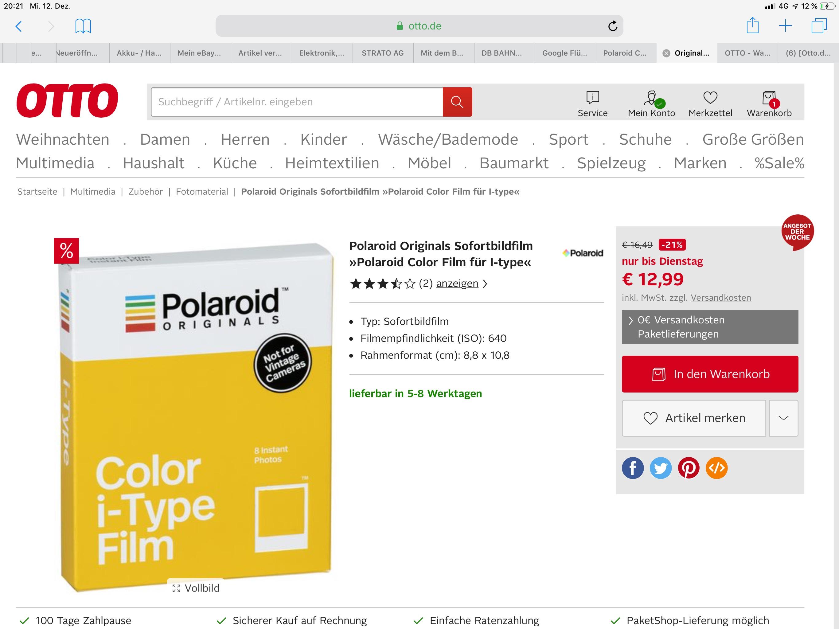 [Otto.de] Polaroid Originals One step 2 Color i-Type Film - 12,99 €