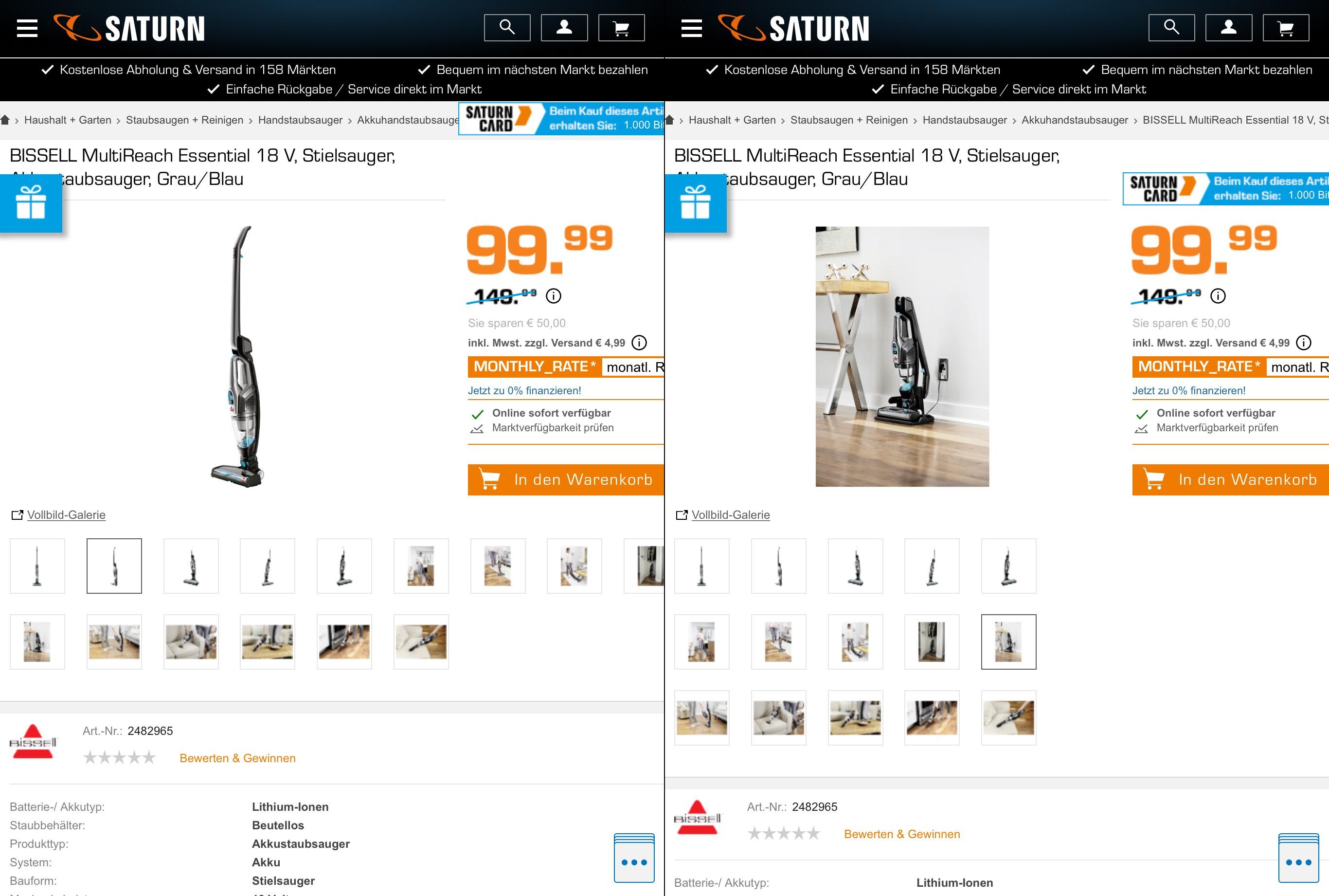 BISSELL MultiReach Essential 18 V, Stielsauger, Akkustaubsauger Handstick - 99,90 €