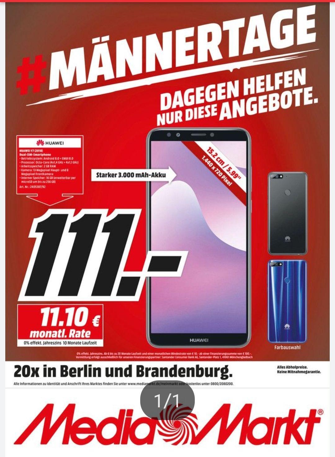 Huawei Y7 2018 Dual Sim 5,99 Zoll für 111€ [Lokal Media Markt Berlin]