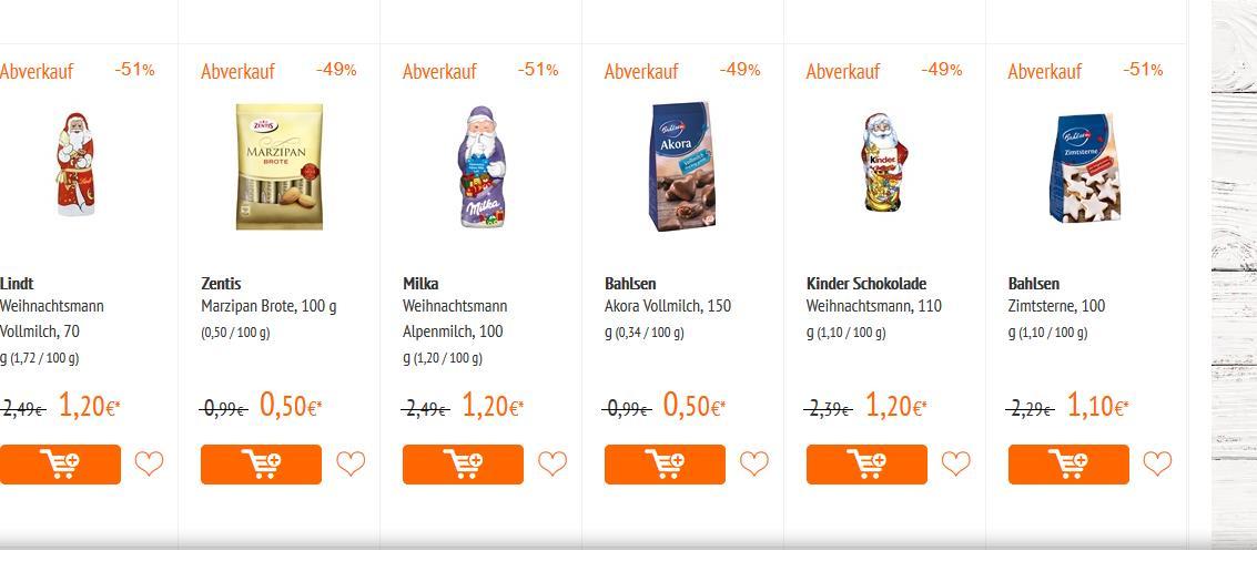 Abverkauf Allyouneedfresh alle Weihnachtssüßigkeiten 50% Rabatt Haribo Lindt 3x 15 Toffifee für 2€ Gratis Versand ab 60€