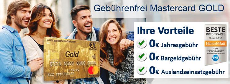 Advanzia Gebührenfrei Mastercard GOLD 30€ Startguthaben  nur bis 31.12