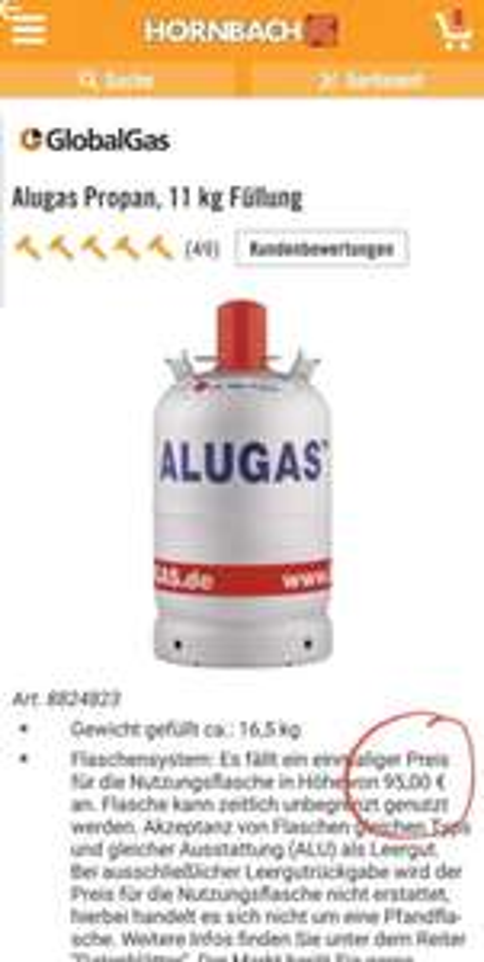 ALUGAS Gasflasche 11KG Leer Lokal Propangas Propangasflasche