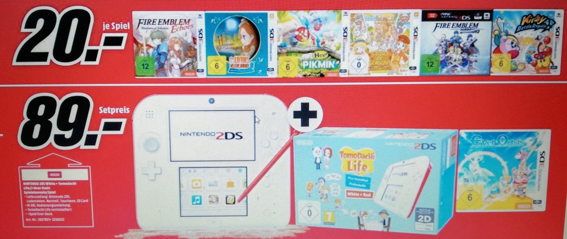 Nintendo 2DSweiß-rot + Tomodachi Life + Ever Oasis für 89€ & weitere 3ds Spiele für je 20€ [Lokal Mediamarkt Sulzbach]