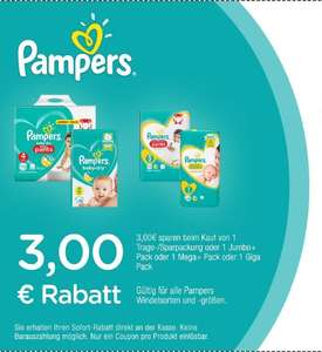 Neuer 3,00€ Pampers Coupon für 1x Spar-, Jumbo-, Mega-, Giga-Pack [31.08.2019]