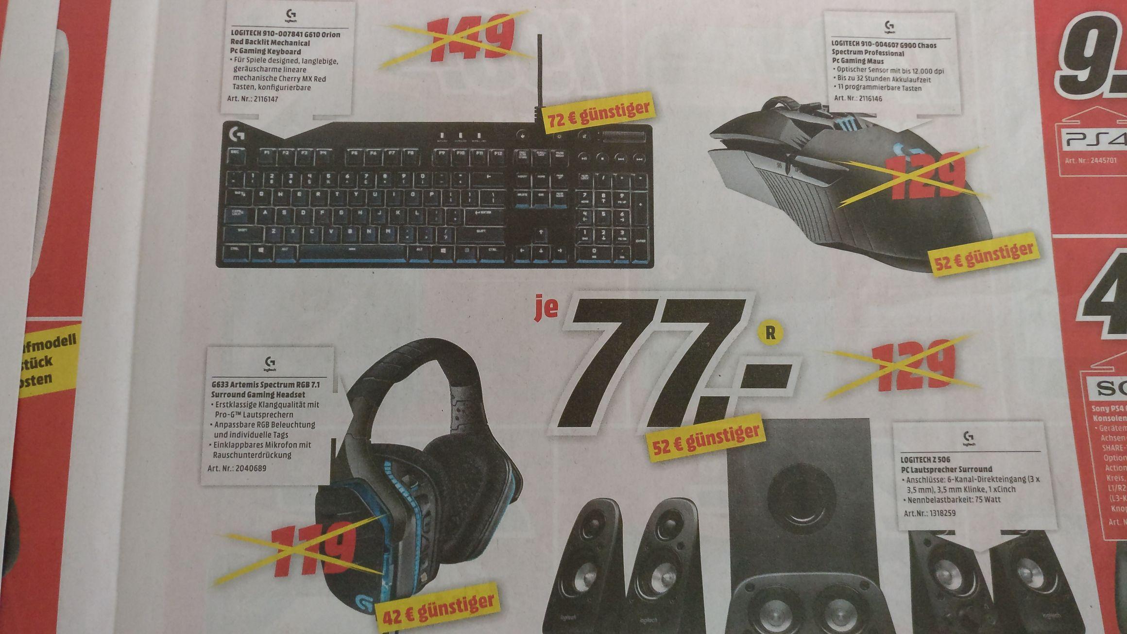 [Lokal Dorsten] Media Markt Logitech 900 Chaos Spectrum, G633 Artemis Spectrum RGB 7.1 je 77€