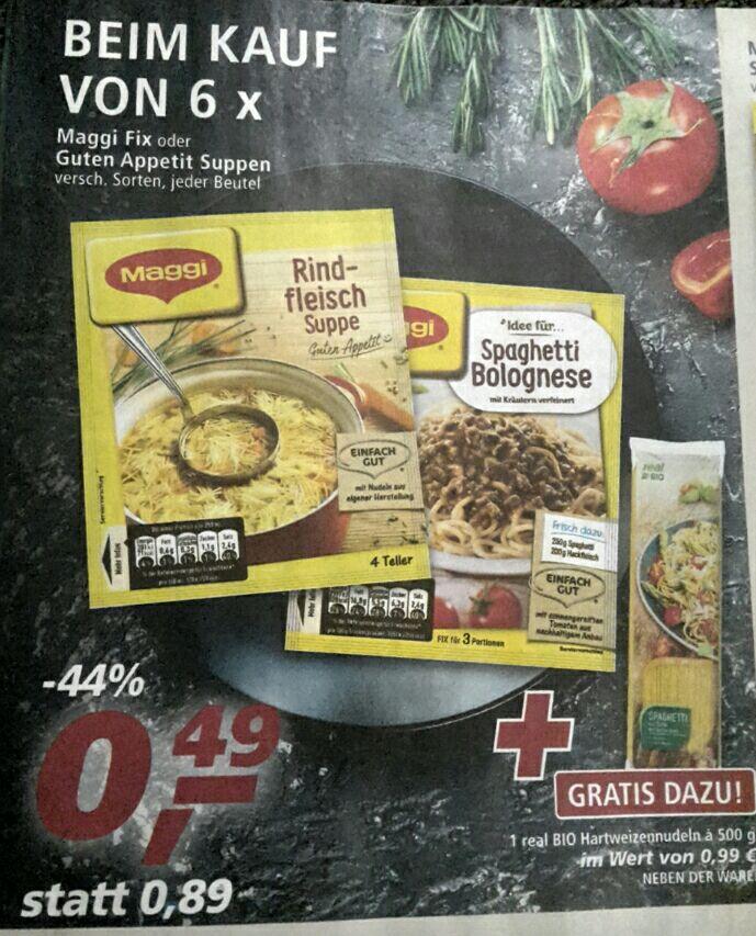 [real] 6x Maggi Fix oder Guten Appetit Suppen + 1x real BIO Hartweizennudeln mit Coupon