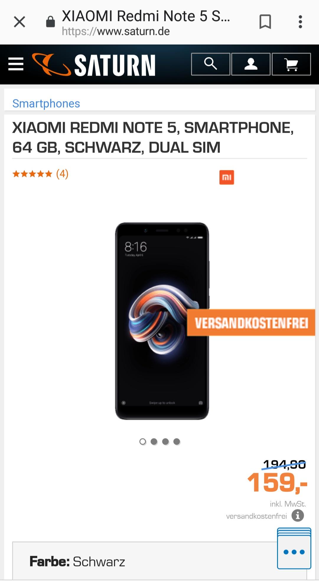 XIAOMI REDMI NOTE 5, SMARTPHONE, 64 GB, SCHWARZ, DUAL SIM