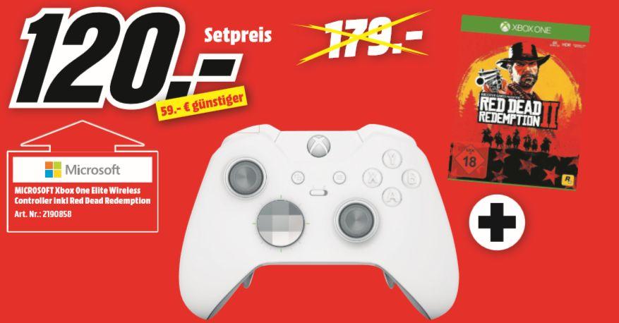 [Regional Mediamarkt Stralsund] Microsoft Xbox One Elite Wireless Controller weiß + Red Dead Redemption 2 [Xbox One] für 120,-€